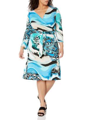 Star Vixen Women's 3/4 Sleeve Faux Wrap Dress