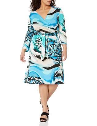 Star Vixen Women's Petite 3/4 Sleeve Faux Wrap Dress