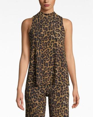 Nicole Miller Furry Leopard Jersey Turtleneck Top