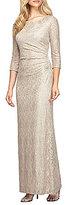 Alex Evenings Petite Beaded Neck Long Sleeve Metallic Lace Gown