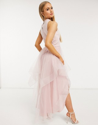 Chi Chi London hi lo dress in organza in mink