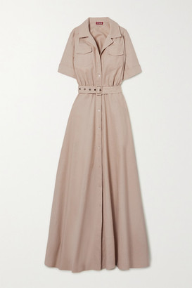 STAUD Millie Belted Linen-blend Maxi Shirt Dress - Beige