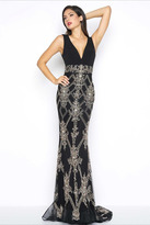 Mac Duggal Black White Red Style 50414R