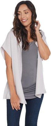 Martha Stewart Wool Cashmere Open Front Ribbed Cardigan