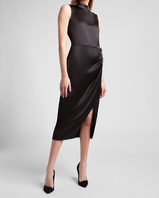 Express Satin Mock Neck Embellished Brooch Dress