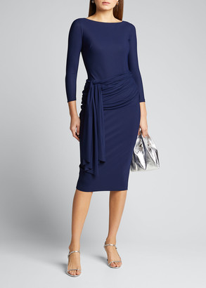 Chiara Boni Boat-Neck Sheath Dress with Draped Waistline
