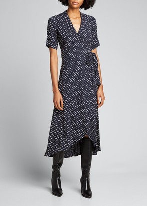 Ganni Tiny Heart Printed Crepe Midi Wrap Dress
