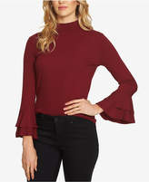 1 STATE 1.STATE Ruffled-Sleeve Rib Knit Top