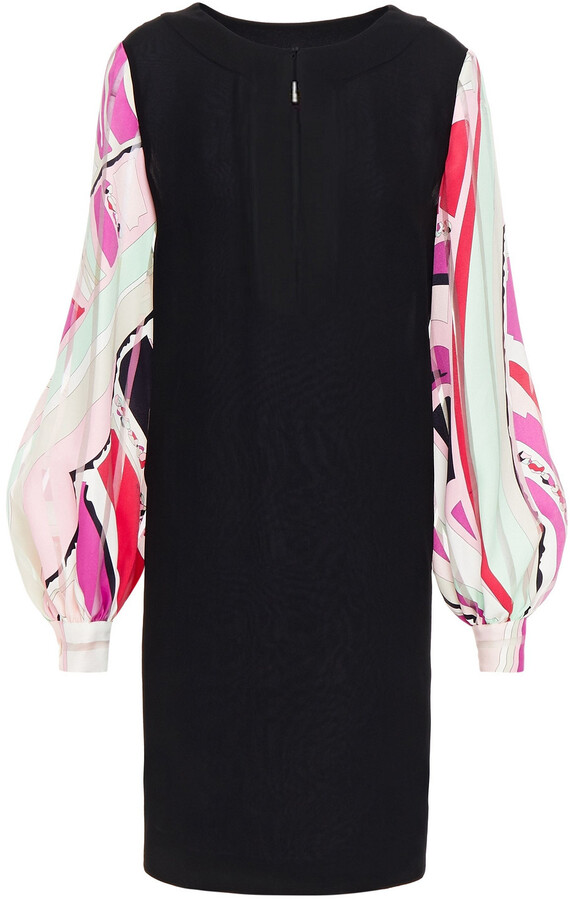 Thumbnail for your product : Emilio Pucci Paneled Pleated Crepe And Cotton-jacquard Mini Dress