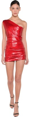 DSQUARED2 One Shoulder Twill Lame Dress