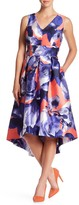 Sangria Floral V-Neck Pleated Fit & Flare Dress