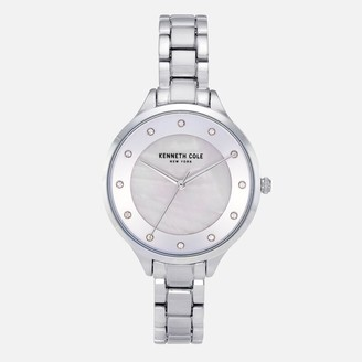 Kenneth Cole Silver Link Bracelet Watch with Crystal Stone Numerals