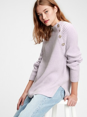 Gap Asymmetrical Button Mockneck Raglan Sweater