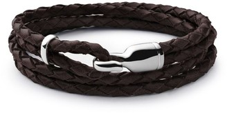 Miansai Trice Sterling Silver & Leather Hook Bracelet