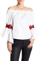 Love, Zoe Embroidered Off-the-Shoulder Blouse