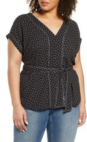 1 STATE Scatter Dot Belted Top