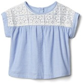 Gap Crochet yoke poplin top