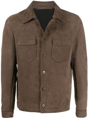 Salvatore Santoro Suede-Effect Pointed Collar Jacket