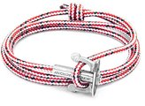 Anchor & Crew Unisex 925 Sterling Silver Red Dash Union Bracelet of 17-23cm