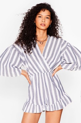 Nasty Gal Womens On Cloud Line Linen Stripe Playsuit - Blue - S