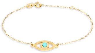 Saks Fifth Avenue Made In Italy Evil Eye 14K Yellow Gold Turquoise Bracelet