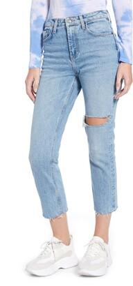 Topshop Ripped Straight Leg Raw Hem Jeans