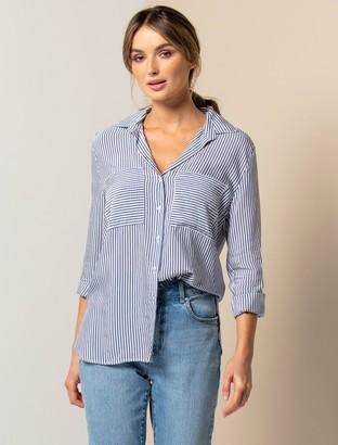 Forever New Adara Stripe Shirt - Dark Blue Stripe - 10
