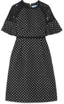 Draper James Shadow Lace-paneled Polka-dot Jacquard Dress - Black