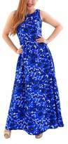 YMING Womens Floral Beach Crochet Backless Maxi Long Swing Dress Blue L