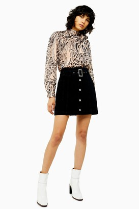Topshop Womens Petite Idol Button Down Belted Denim Skirt - Washed Black