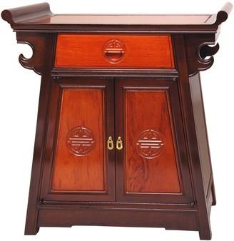 Oriental Furniture Handmade Rosewood Two-Tone Altar Cabinet