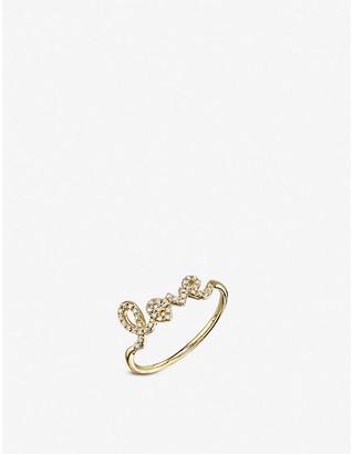 Sydney Evan The Alkemistry Love Script 14ct yellow gold and diamond ring