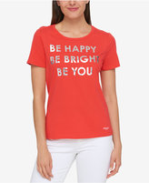 Tommy Hilfiger Be Happy Metallic Graphic T-Shirt, Created for Macy's