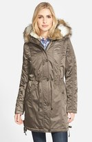 Laundry by Shelli Segal Faux Fur Trim Hooded Satin Parka