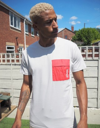 Jack and Jones Core t-shirt with check pocket in off white