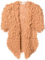 Ryan Roche - cashmere furry shortsleeved cardigan - women - Cashmere - M