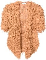 Ryan Roche - furry shorsleeved cardigan - women - Cashmere - XS