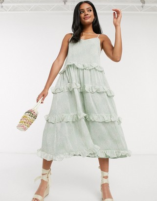 Y.A.S cami dress with ruffles in mint ditsy floral