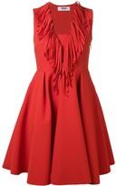 MSGM fringed V-neck flared dress