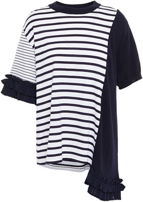 Clu Asymmetric Ruffle-trimmed Striped Cotton-jersey And Knitted T-shirt