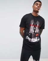 Criminal Damage T-Shirt In Black Clashed Print