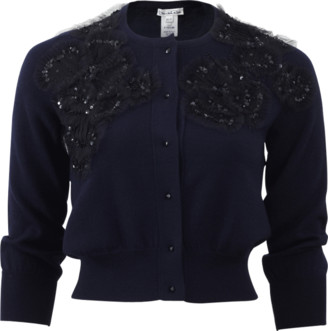 Oscar de la Renta Beaded Cropped Cardigan