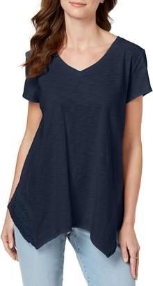 Style&Co. Style & Co. Crochet Handkerchief-Hem T-Shirt