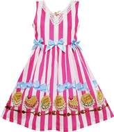 Sunny Fashion HK95 Girls Dress Striped Cookie Print Bow Tie Lace Trim