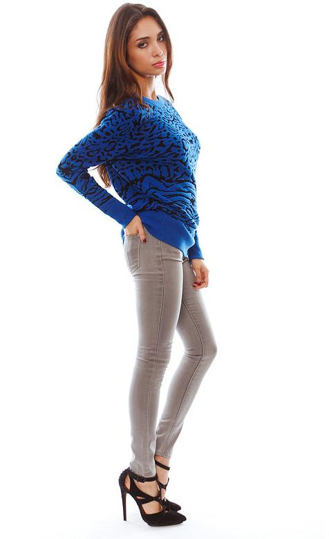 Torn By Ronny Kobo Randy Puffy Leopard Sweater