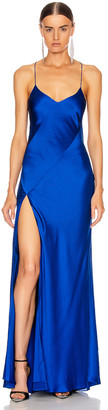 Mason by Michelle Mason Bias Gown with Slit in Cobalt | FWRD