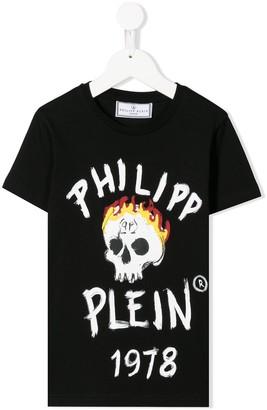Philipp Plein flaming skull-print T-shirt