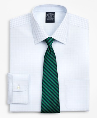 Brooks Brothers Stretch Big & Tall Dress Shirt, Non-Iron Poplin Ainsley Collar Small Grid Check