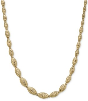 """Italian Gold Textured Bead Graduated Collar Necklace in 14k Gold-Plated Sterling Silver, 17-1/2"""" + 1-1/2"""" extender"""