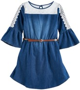 My Michelle Girls 7-16 Lace Chambray Belted Dress